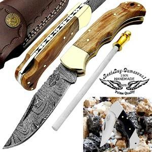 Damascus Steel Pocket Folding Knife